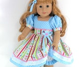 Handmade Doll Clothes for American Girl - Dress, Headband, Bloomers - Gold Sparkle Princess Stripe - Shoes, Socks Option