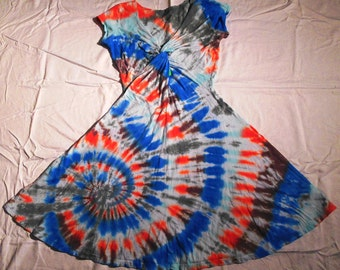 Tie Dye Twisted Front Dress Size Small