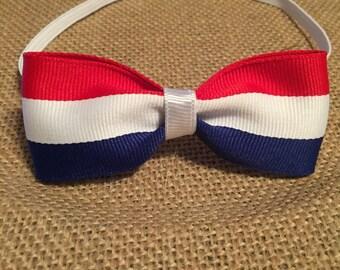 Red, white and blue hair bow headband, baby headband, toddler headband, newborn headband