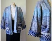 Sale Vintage Cardigan / Vintage Sweater / 1970's Cardigan / Blue Aztec Sweater / Hipster Cardigan / KMart Cardigan M