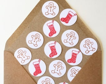 Christmas stocking and gingerbread men confetti | Table decorations | Celebration | Handmade | Lino print |