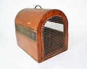 Vintage Handmade Wooden Pet Carrier | Folk Art | Display Prop | Photo Prop | Rustic Farmhouse Style | Antique Pet Cage