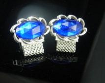 Swank Blue Cufflinks Vintage Wrap silver Mesh Crystal Prisms blue LARGE cuff links