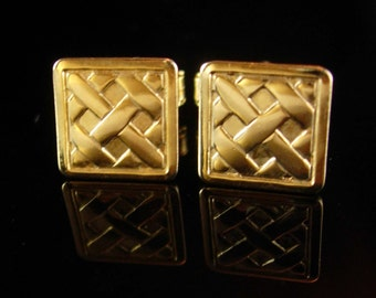 Lattice Basket Weave Cufflinks Vintage petite boys Gold small classic Tuxedo Wedding Valentines