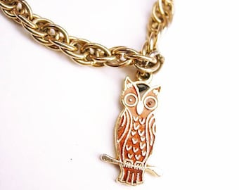 Vintage Tie clip with OWL Swag Chain Sliding Adjustable expandable clip for larger ties Gold Bird Sarah Cov