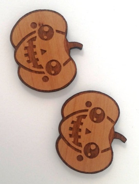 Laser Cut Supplies- 1 Piece.Kawaii Pumpkin Jack O Lantern Charms - Cherry Wood-Laser Cut- Little Laser Lab Sustainable Wood Products