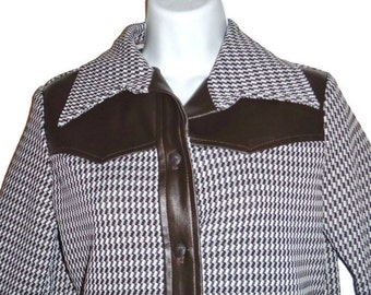 Vintage 70s ladies brown hounds tooth long sleeve pants suit outfit faux leather western style