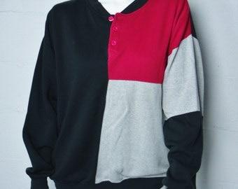 Vintage 90s ladies Sassoon black magenta gray grey sweatshirt size large