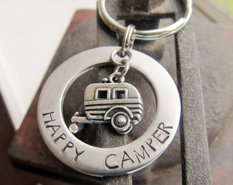 Camper Keychain Hand Stamped Key Ring Happy Camper Key Ring Gift for Him Father's Day Gift Camping Keychain Trailer Key Ring Camping Gift