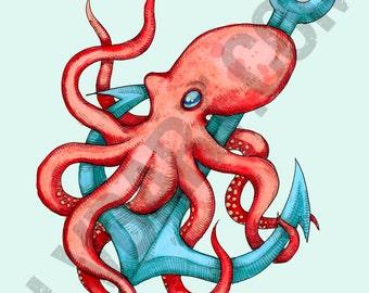 Octopus & Anchor Fine Art Print