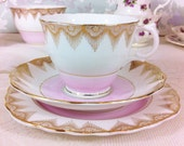 Pink Banded Tea Trio with Gold Tassels