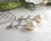 Bridal Earrings, Freshwater Pearl Tear Drop Earrings, Wedding Earrings, BridalJewellery, Wedding Jewelry, Ivory pearls, CZ accents