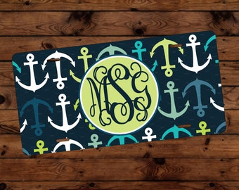 anchor monogram license plate frame license plate cover lime and navy license plate frame anchor print monogram gift monogram