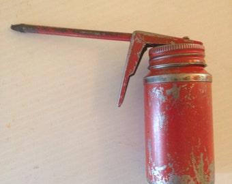 Vintage Red Oil Can Pump Oiler Vintage Garage Shop Tools Service Station