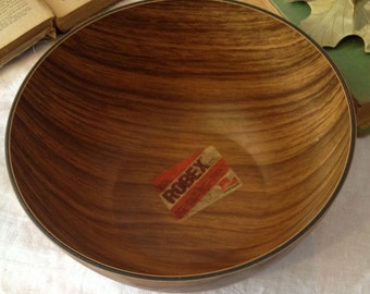 Wood Tone Robex Caleppio  Salad Bowl  Very Retro with Tags Made in Italy