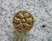 Vintage French Ornate Floral 1 1/2 Inch Brass Metal Dresser Drawer Furniture Knob  Restoration Hardware Replacement Shabby Chic