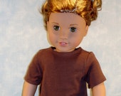 18 Inch Doll Clothes - Brown T Shirt handmade by Jane Ellen to fit 18 inch dolls