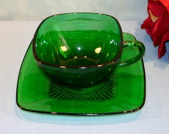 Charm Forest Green by Anchor Hocking Cup and Saucer