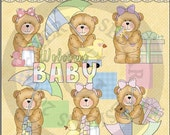 Instant Download Chubby Cubby Teddy Bear Baby Shower Clipart - Digital Download - Animal Illustration - Bear Images