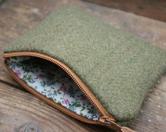 Tweed zipped coin purse