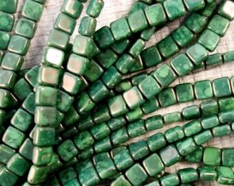 CzechMates 2-hole Tile Bead, Honeydew Moondust 6mm Tile Beads, 2879, Honeydew MoonDust Two Hole Tile Bead, 50 Beads