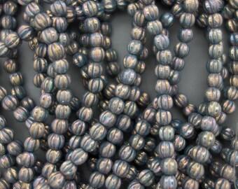5mm Czech Glass Oxidized Bronze Melon Round Beads, 3119, 5mm Oxidized Bronze Melon Beads, 50 Beads