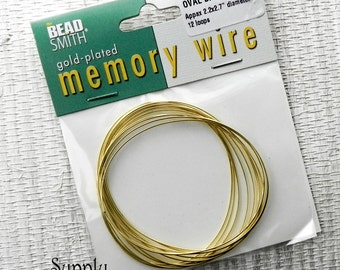 Oval Bracelet Memory Wire in Gold - Gold Memory Wire - Gold Oval Memory Wire