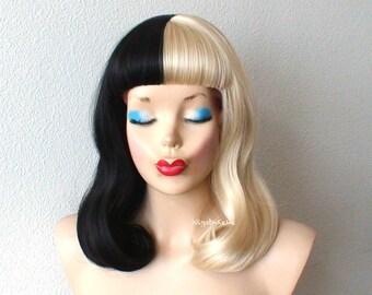 Blonde/Black wig. Half Blonde Half Black wig. Short wavy hair short bangs Blonde /  Black side by side wig for daytime use or Cosplay.