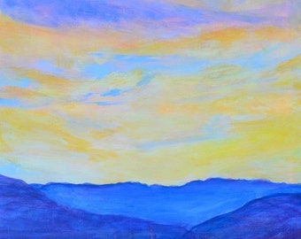 Large Landscape painting, Original sunset painting, impressionist art, death valley,  desert painting, acrylic Square blue sunrise  24 X 24