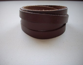 5mm Flat Brown Leather Wrap Around Cuff Bracelet with Silver Magnetic Clasp