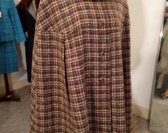 Vintage PENDELTON Tweed Plaid 100% Wool CAPE Cloak