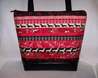 Dachshund Purse - Red, Black and White Dachshund Stripe Handbag - Purse - Bag