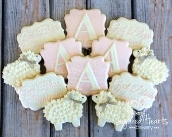 Baptism Christening Dedication Baby Cookies -  Baby Pink - 1 Dozen
