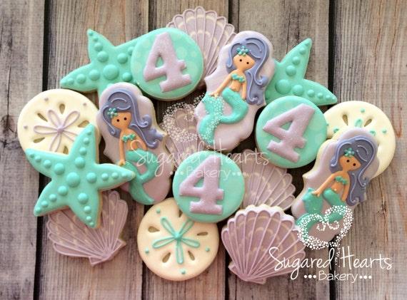 Mermaid Under The Sea Birthday Cookies Purple And Aqua