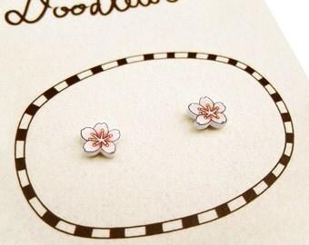 Super Tiny Cherry Blossom Shrink Plastic Stud Earrings