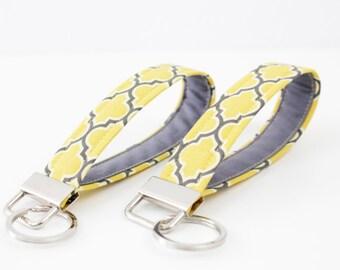 Fabric Key Fob - Grey / Yellow