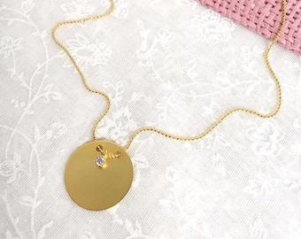 14k gold disk necklace,disk necklace,silver disk necklace,plain disk necklace,