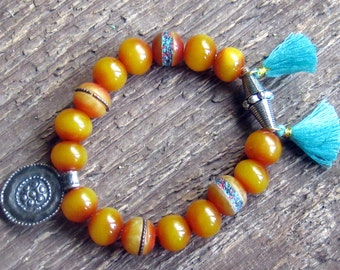 Tassel Bracelet,Stretch Bracelet, Layering Bracelet, Bohemian Jewelry
