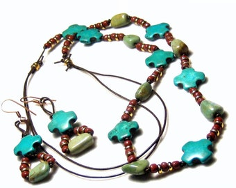 Blue Turquoise Cross Leather Necklace Earrings Bohemian Jewelry Tribal Jewelry