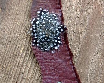 Feather Bracelet, Leather Bracelet, Cuff Bracelet, Bohemian Jewelry