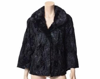 Vintage 50s 60s Black Lamb with Mink Fur Coat 1950s 1960s Duplers Persian Broadtail Wavy Texture Moiré Fur Jacket