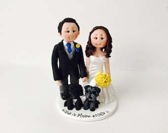 Bride and groom with 2 dogs wedding cake topper - Fully personalised