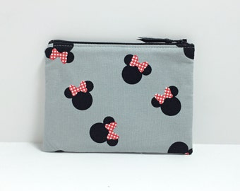 Small coin purse - Minnie Mouse head on gray