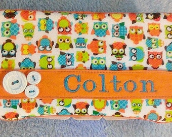 Diaper Wipes Case in Orange Owls, Can Be For a Boy or Girl, Other Accent Colors Available, Baby Shower Gift, New Mom Gift, Baby Gift