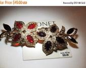 SALE 30 Monet Floral Branch Brooch Red, purple, gold