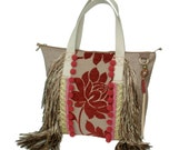 Hippie tote bag with flower, big handbag with fringes, red brown purse handmade, unique gift for women, fabric tote bag bohemian style