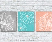 Gray Aqua Peach Flower Art Prints, Floral Dahlia Wall Art Set of (3) 5x7, 8x10 OR 11x14 // Bedroom Bathroom Modern Home Decor, Unframed