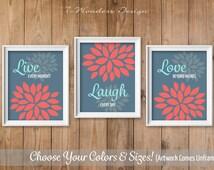 Live Laugh Love Flower Bursts, Floral Dahlia Art Print Set of (3) Flower Pictures // Pink Coral, Aqua, Stone Blue // Home Decor Unframed