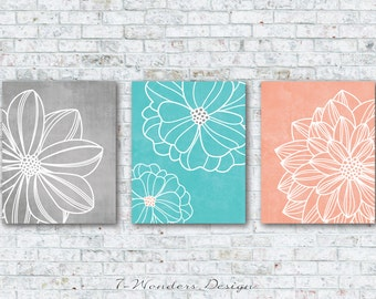 Gray Aqua Peach Flower Art Prints, Floral Dahlia Wall Art Set Of (3)