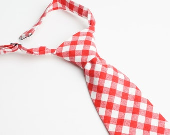 Red Gingham Neck Tie With Adjustable Strap